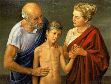 """""""Hipokrates badający dziecko"""" Robert Thom 1950r."""